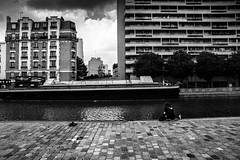 Paris, canal de l'Ourcq, b&w, 10 (Patrick.Raymond (4M views)) Tags: 75019 canal ourcq paris noir et blanc street photo nikon