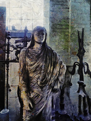 The Goddess of Decay (Steve Taylor (Photography)) Tags: digitalart statue window door contrast stark metal concrete newzealand nz southisland canterbury christchurch texture pumphouse
