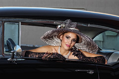 Alicia Quintana in the 57 Chevy (Mitch Tillison Photography) Tags: beautiful stunning gorgeous lovely alluring sexy sensual elegant woman female model operagloves lace hat derbyhat couture auto classic 57chevy hotrod mitchtillison photo shoot photography portrait godox strobe pentax k3 77mm prime pentaxfa77mmf18limited fashion glamour editorial