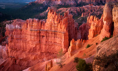 Red Dawn at Bryce Canyon (byron bauer) Tags: byronbauer red dawn rock wall formation bryce canyon hoodoo painterly texture topaz simplify sunset point sunrise softlight erosion sedimentary strata forest trees pines color landscape majestic nationalpark amphitheater aoi elitegalleryaoi bestcapturesaoi