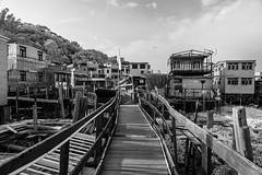Water Village (_hojim) Tags: hongkong water building architecture village landscape sky plane bridge grey bw black ruins demolish old antique history culture local contrast floating