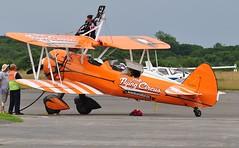 SE-BOG (1) (goweravig) Tags: wnas18 boeing stearman kaydet aircraft visiting swansea wales uk swanseaairport aerosuperbatics wingwalkers sebog 1 biplane