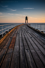 Sky Blue (ianrwmccracken) Tags: wood plank railing pier grain perspective nikkor2470mmf28 morning blue nikon beacon yorkshire d750 cloud whitby england sky curve handrail coast sunrise cool
