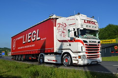 Scania R555 V8 - Liegl (A) (T.I.R. - Spotting) Tags: scania r500 555 v8 liegl transport austria curtain side trailer truck lorry spotting lkw tuning styling intercooler super white pearl authof