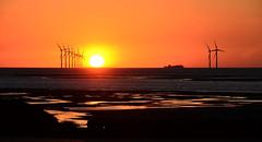 Irish Sea Sunset (sab89) Tags: irish sea sunset wirral wallasey new brighton wind farm burbo bank beach relfection sand water orange sun ship ferry european endeavour