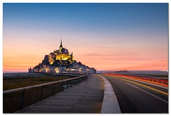 Mont St. Michel, France (Bent Kverme) Tags: sunset nature lightpainting streetlight skyline longexposure ocean horizon water sea