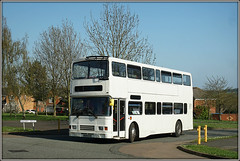R129 EVX, Naseby Drive (Jason 87030) Tags: volvo oly olympian white plain daventry northants northamptonshire doubledecker school children college contract local sunny bus southam catteralls april 2018 r129evx photo photos pic pics socialenvy pleaseforgiveme picture pictures snapshot art beautiful picoftheday photooftheday color allshots exposure composition focus capture moment