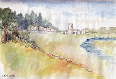 Medieval Town & Fortress in the Distance (boodiba) Tags: landscape dreamscape illustration mixedmedia watercolourpencils watercolour