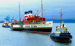 Scotland Greenock tugs Battler and Biter guiding the paddle steamer Waverley into drydock 18 April 2018 by Anne MacKay (Anne MacKay images of interest & wonder) Tags: scotland greenock boat ship tug tugs battler biter paddle steamer waverley xs1 18 april 2018 picture by anne mackay