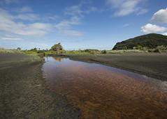 Whatipu Tannin (fantommst) Tags: lisaridings fantommst whatipu nz newzealand auckland northisland beach blacksand sand landscape waterscape water rock grassland stream tannin inland