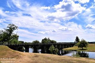 Karlovac, Croatia - Old wooden bridge over river Korana