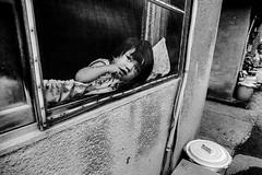 window 680 (soyokazeojisan) Tags: japan osaka bw city blackandwhite window children monochrome analog olympus m1 om1 21mm film trix kodak memories 昭和 1970s 1975 street