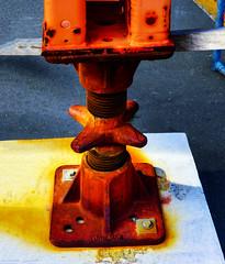 Hitting the Road (Steve Taylor (Photography)) Tags: adjuster bolt jack blue orange yellow white metal newzealand nz southisland canterbury christchurch cbd city