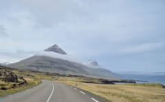 Pyramid mountain along the eastern Fjords in Iceland (suttree140782) Tags: island iceland summer outdoor photography nikon fjord fjords eastern coast shore pyramid mountain clouds roudtrip driving street