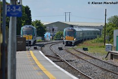 22014+22037 arrive at Portlaoise, 23/6/18 (hurricanemk1c) Tags: railways railway train trains irish rail irishrail iarnród éireann iarnródéireann portlaoise 2018 22000 rotem icr rok 4pce 22014 1040corkheuston