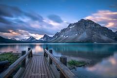 Beautiful Bow Lake Sunrise (Margarita Genkova) Tags: alberta canada reflection bridge nature landscape rockymountains bowlake