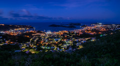 City Sights, Morning Lights (tquist24) Tags: caribbeansea charlotteamalie charlotteamalieoverlook hdr nikon nikond5300 skylinedriveoverlook stthomas usvirginislands virginislands bluehour city cityscape clouds geotagged hill island lights longexposure morning ocean sea seascape sky tropical water