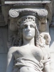 Mysterious Woman Dame Summer Caryatid NYC 5414 (Brechtbug) Tags: mysterious woman dame summer caryatid stone ladies courthouse roof statues across from madison square park new york city atlantid 2018 nyc 07152018 art architecture gargoyle gargoyles statue sculpture sculptures facade figures column columns court house law government building lady women figure form far east buildings season seasons fall