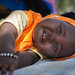 Ilham Ahmed, 10-months-old, plays as her mother attends a mother-to-mother support group held at a UNICEF-supported health post
