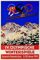 1936 Olympic Winter Games in Garmisch-Partenkirchen, Germany.  Postcard issued by the Austrian Olympic Committee, postmarked February 6, 1936 (lhboudreau) Tags: 1936 olympics olympicgames 1936wintergames 1936olympicgames winterolympics 1936winterolympicgames ivolympicwintergames sports athletes athletics sportevent sportevents athleticevent athleticevents garmischpartenkirchen germany olympischenspiele dieolympischenspiele1936 skijump skijumper skijumping snow mountain mountains olympicrings ski skis skies sky skiing postcard postcards vintagepostcard vintagepostcards february61936 austrianolympiccommittee 1936germanolympics germanolympics advertising vintageadvertising ad advertisement olympischewinterspiele ivolympischewinterspiele