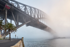 Fog Bound Bridge (Robs.Images) Tags: landscape landscapephotography longexposure landscapelovers cityscape bridge bridgelovers sunrise sydney sydneyharbour sydneyharbourbridge urban urbanphotography fog mist goldenhour architecture infrastructure harbour city sonya7ii sony1634f4lens