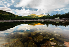 Granchar lake's (Plamen Troshev) Tags: lake mountain reflections peaks sky clouds