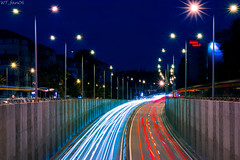 Lane crossings and neon lights (WT_fan06) Tags: bucharest traffic lights night neon lanes city urban nikon d3400 dslr photography artsy artistic aesthetic red blue contrast saturated colors colorful motion speed highway hectic busy passage tunnel 7dwf flickr coth5 readyfortheday transportation sky shadows street cars yellow lines stream flow romania