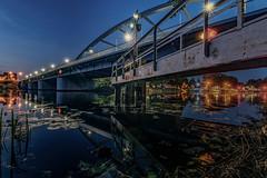 Bridge over the river Spree,Fürstenwalde (karstenlützen) Tags: germany brandenburg fürstenwaldespree river riverside waterfront reflection longexposure bluehour