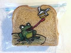 Frog likes cake (D Laferriere) Tags: kritzels fly green happy birthday cake frog attleboro laferriere sandwich bag art sharpie