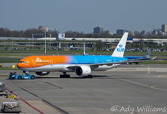 KLM Boeing 777-300 (Ady Williams Photography) Tags: phbva orange 777 boeing airline airlines royal klm plane aircraft spotting panorama terrace dutch holland netherlands airport schiphol amsterdam eham ams