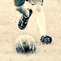 Chasing The Ball (jah32) Tags: soccer soccerball balls ball playball monochromatic monochrome kids sepia playing grandson mitre action sports futbol football thebeautifulgame game