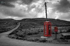 Halfway on the Abergwesyn Mountain Pass (Max Hawkins) Tags: abandoned alone blackandwhite ceredigion colour colourpop country countryside explore exploring fields green midwales mountains outdoors phonebox pillarbox postbox red remote road roads royalmail tree trees uk unitedkingdom valley wales welsh tregaron gb