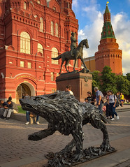 Wolf, horse and general Zhukov (Tigra K) Tags: moskva moscow russia ru 2016 architecture city funny iphone kremlin metal road russianrevival sculpture spire statue tower window arch art