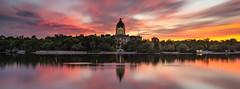 Saskatchewan Legislative Building, June 2018 (WherezJeff) Tags: capital legislature regina saskatchewan saskatchewanlegislativebuilding sunset longexposure pano reflection water d850 bigstopper