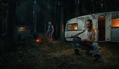 Friends II (Przemyslaw Koch) Tags: friends strobist composite dark moody man forest camper trailer gun shotgun cinematic portrait