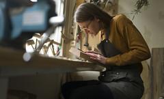 Kniejawood (JoChristo) Tags: portrait wood craft savoirfaire atelier paris france paris14 carving morgane leica woman