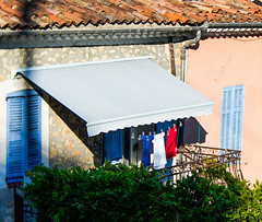 La France (judy dean) Tags: judydean 2018 france worldcup flag celebrations washing balcony redwhiteandblue