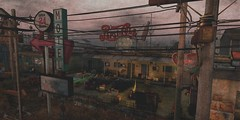 The Absolute Truth Of The World (Loegan Magic) Tags: secondlife tralalasdiner landscape powerlines motel parkinglot cars signs cyberpunk postapocalyptic sky building