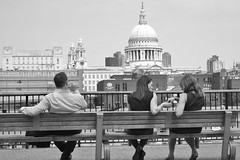 Olive? Don't mind if I do. Thanks.... (markwilkins64) Tags: stpaul'scathedral blackandwhite streetscene candid streetphotography street southwark southbank london bench