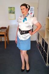 Looking innocent (Rikky_Satin) Tags: silk satin blouse ruffles frills denim skirt scarf pumps belt pantyhose flowers crossdresser transgender femboi sissy feminization mtf