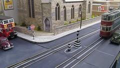 Multi tasking tram driving 1 (kingsway john) Tags: london transport video tram layout 176 scale oo gauge diorama kingsway models card buildings