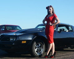 Holly_9179 (Fast an' Bulbous) Tags: pontiac transam american muscle car vehicle automobile girl woman hot sexy wife people outdoor pinup model red wihhle dress stockings high heels long brunette hair