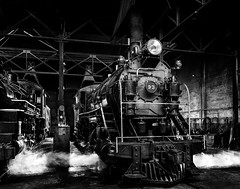 024693763645-103-Steam Locomotive-2-Black and White (Jim There's things half in shadow and in light) Tags: america ely nevada nevadanorthernrailwaymuseum southwest usa whitepinecounty history locomotive museum rail steam train transportation blackandwhite