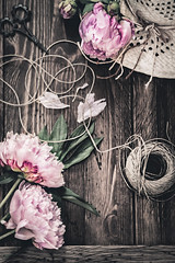 Gardening day (Ro Cafe) Tags: helios58mmf2 stilllife blooms flowers vintagelens fromabove tabletop peonies hat table wood ball yarm jute scissors pink rustic nikond600