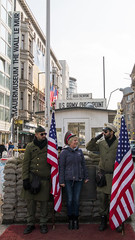 Soldier Imposter in between soldier actors at Checkpoint Charlie (HansPermana) Tags: berlin deutschland germany hauptstadt city cityscape eu europe europa spring march 2018 checkpointcharlie history historic