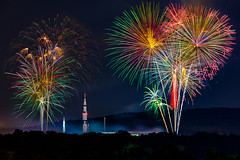 NASA Celebrates with Rockets and Fireworks (Jens Lambert Photography) Tags: alabama celebration cityscape davidsoncenter entertainment fireworks huntsville july4th lights nasa night nightsky rocket saturnv smoke space tranquilitybay bouquet colorful lightpainting lightshow trees stock