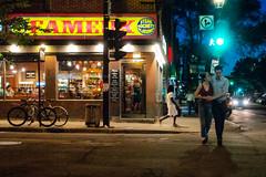 Summer in the city / Balade estivale (Jacques Lebleu) Tags: city street summer love bicycles signs night été verano estate montréal fameux famous restaurant plateau stdenis montroyal