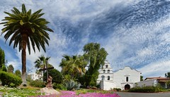 Mission San Diego de Acala (FotoGrazio) Tags: missionbasilicasandiegodealcalá missionsandiego missionsandiegodealcalá panorama waynegrazio waynesgrazio fotorazio church catholic romancatholic waynestevengrazio religion christianity spanishmission sandiegophotography sandiego historic landmark palmtree churchexterior touristsight tourism beautiful cross belltower building architecture sky clouds