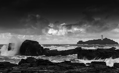 Godrevy Storm (James Etchells) Tags: cornwall kernow sea seascapes seascape landscapes landscape sky clouds godrevy national trust coast coastal nature storm waves ocean rocks rocky coastline photography black white monochrome south west england britain uk