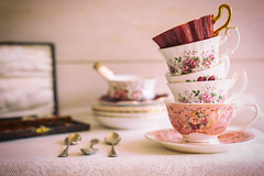 204/356: A tower of teacups (judi may) Tags: 365the2018edition 3652018 day204365 23jul18 teacups stilllife vintage vintagestyle vintageteacups vintagespoons lace canon5d 50mm bokeh depthoffield dof